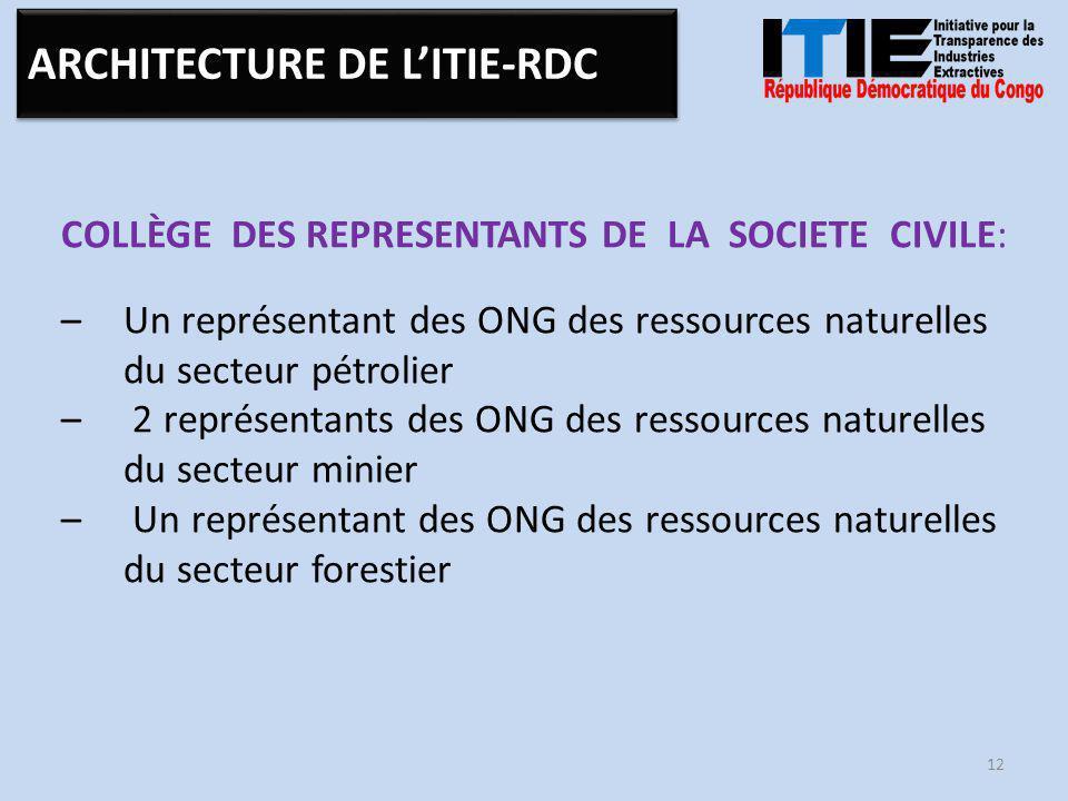 COLLÈGE DES REPRESENTANTS DE LA SOCIETE CIVILE: –Un représentant des ONG des ressources naturelles du secteur pétrolier – 2 représentants des ONG des ressources naturelles du secteur minier – Un représentant des ONG des ressources naturelles du secteur forestier 12 ARCHITECTURE DE L'ITIE-RDC