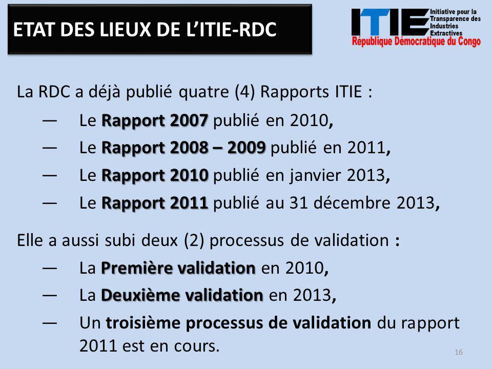 La RDC a déjà publié quatre (4) Rapports ITIE : Rapport 2007 —Le Rapport 2007 publié en 2010, Rapport 2008 – 2009 —Le Rapport 2008 – 2009 publié en 2011, Rapport 2010 —Le Rapport 2010 publié en janvier 2013, Rapport 2011 —Le Rapport 2011 publié au 31 décembre 2013, Elle a aussi subi deux (2) processus de validation : Première validation —La Première validation en 2010, Deuxième validation —La Deuxième validation en 2013, —Un troisième processus de validation du rapport 2011 est en cours.