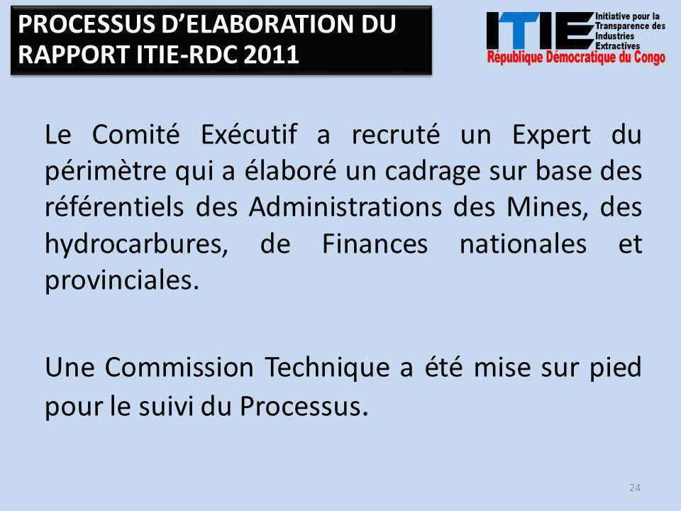 Le Comité Exécutif a recruté un Expert du périmètre qui a élaboré un cadrage sur base des référentiels des Administrations des Mines, des hydrocarbures, de Finances nationales et provinciales.