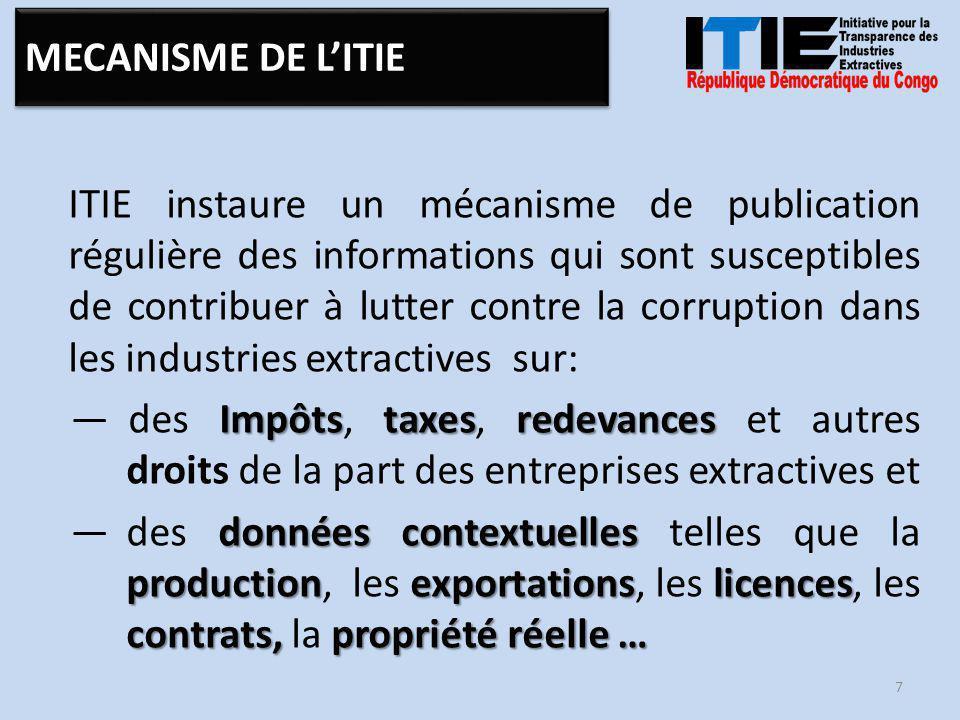 ITIE instaure un mécanisme de publication régulière des informations qui sont susceptibles de contribuer à lutter contre la corruption dans les industries extractives sur: Impôtstaxesredevances —des Impôts, taxes, redevances et autres droits de la part des entreprises extractives et données contextuelles productionexportationslicences contrats, propriété réelle … —des données contextuelles telles que la production, les exportations, les licences, les contrats, la propriété réelle … 7 MECANISME DE L'ITIE