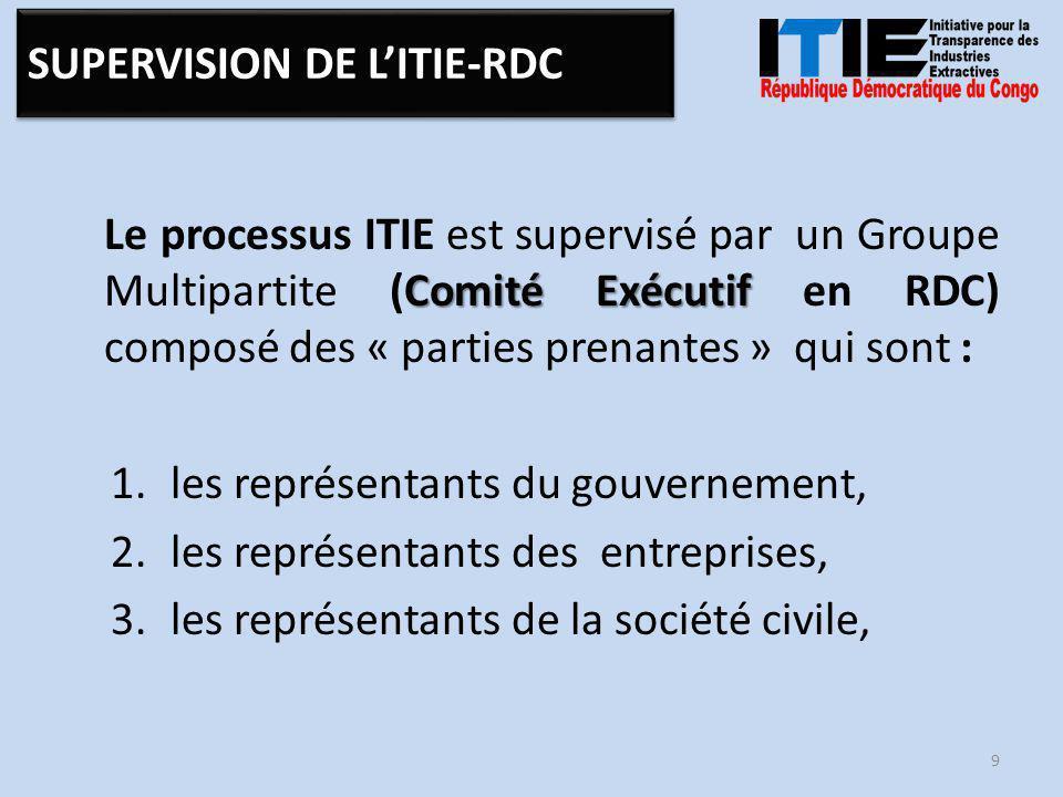 Comité Exécutif Le processus ITIE est supervisé par un Groupe Multipartite (Comité Exécutif en RDC) composé des « parties prenantes » qui sont : 1.les représentants du gouvernement, 2.les représentants des entreprises, 3.les représentants de la société civile, 9 SUPERVISION DE L'ITIE-RDC