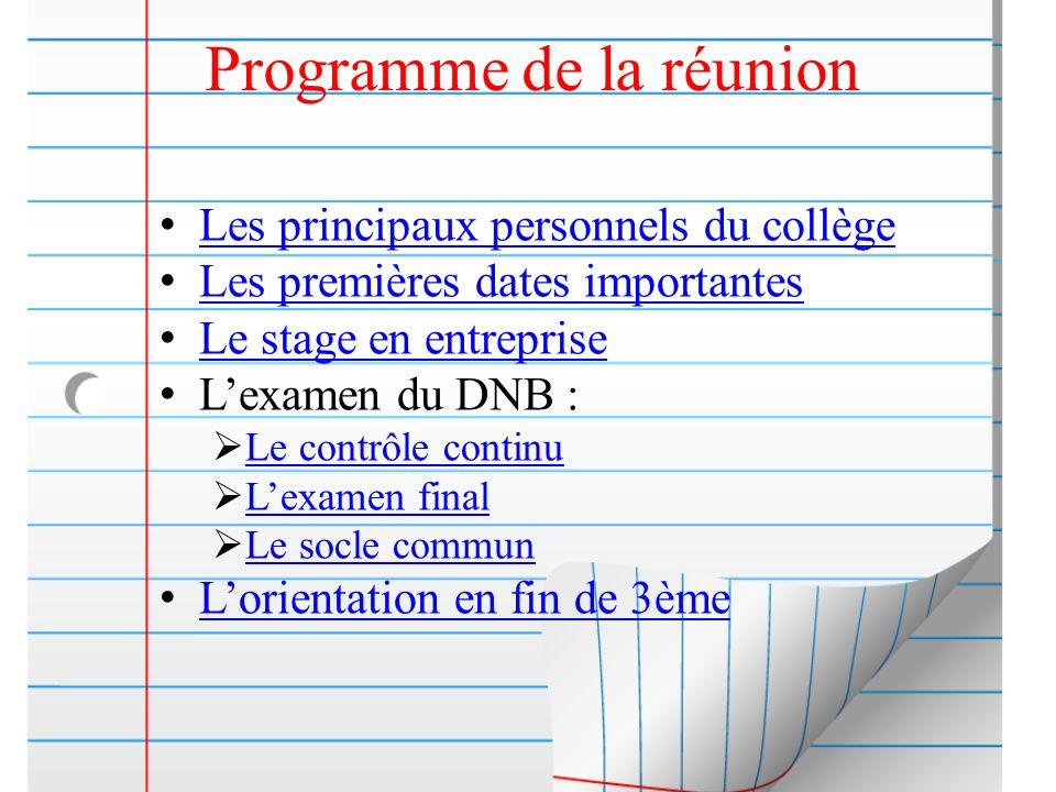 Programme de la réunion Les principaux personnels du collège Les premières dates importantes Le stage en entreprise L'examen du DNB :  Le contrôle co