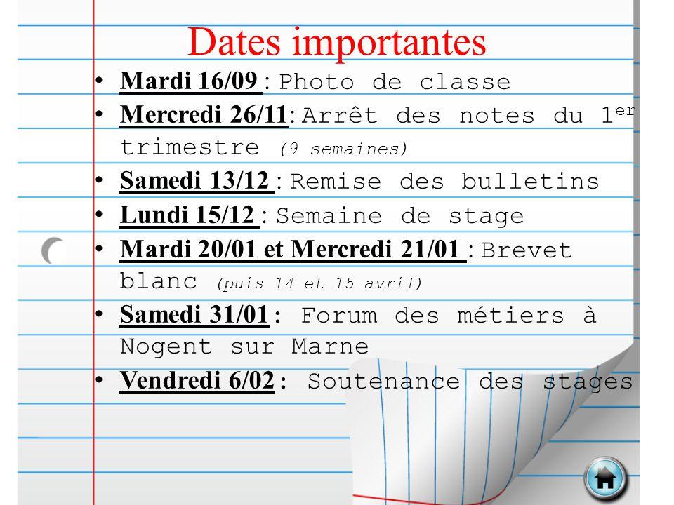 Dates importantes Mardi 16/09 : Photo de classe Mercredi 26/11: Arrêt des notes du 1 er trimestre (9 semaines) Samedi 13/12 : Remise des bulletins Lun