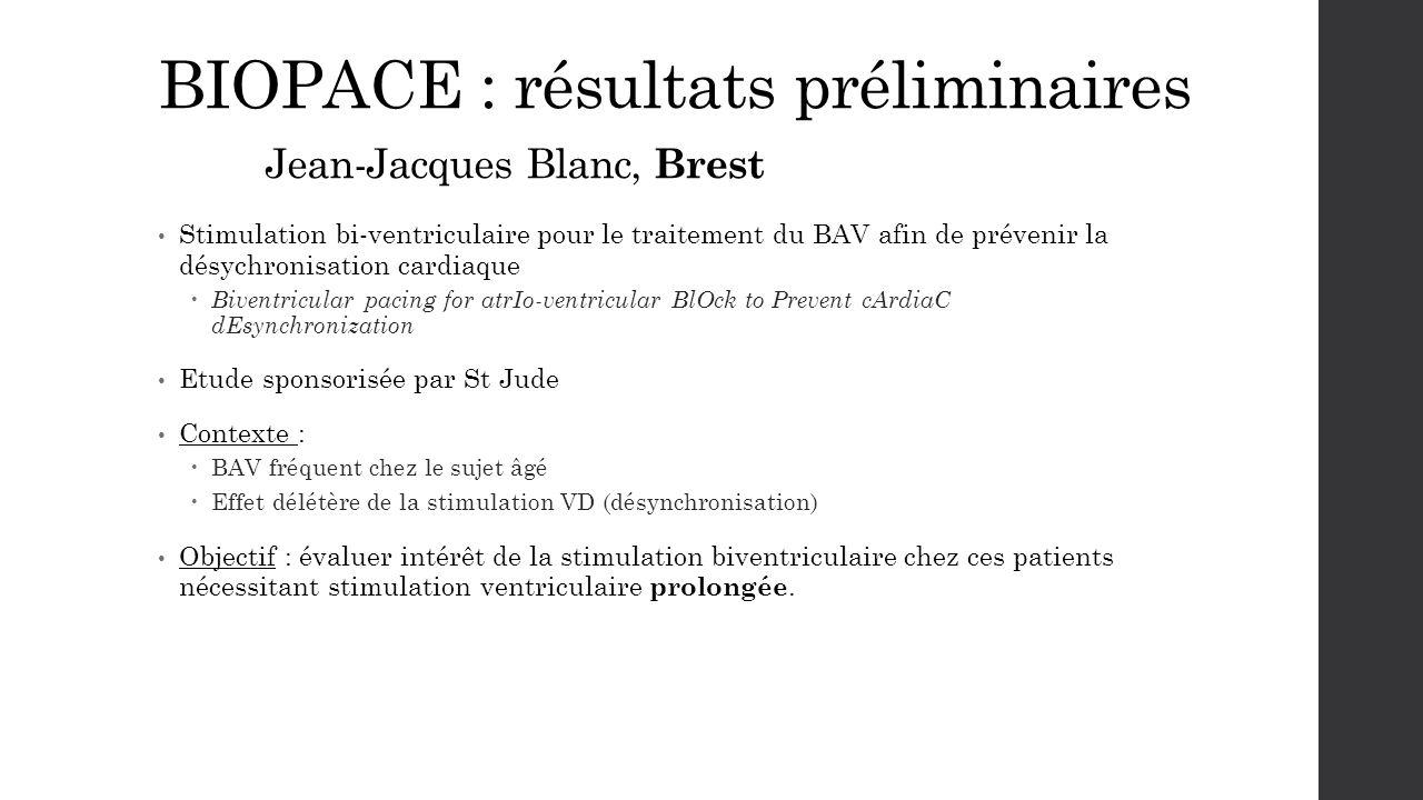 BIOPACE : résultats préliminaires Jean-Jacques Blanc, Brest Stimulation bi-ventriculaire pour le traitement du BAV afin de prévenir la désychronisatio