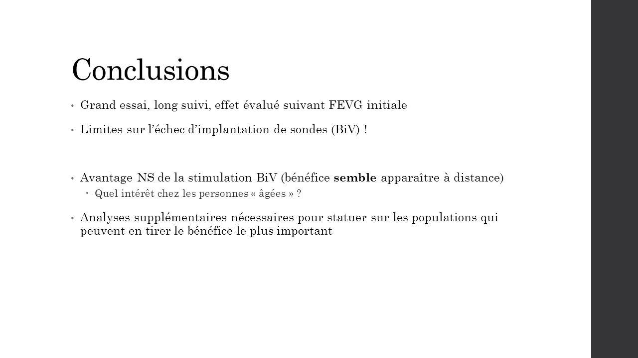 Conclusions Grand essai, long suivi, effet évalué suivant FEVG initiale Limites sur l'échec d'implantation de sondes (BiV) ! Avantage NS de la stimula