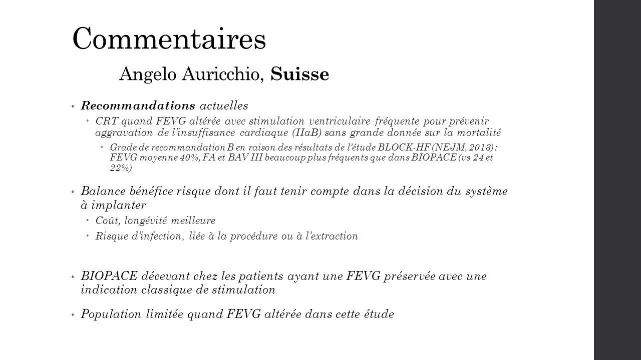 Commentaires Angelo Auricchio, Suisse Recommandations actuelles  CRT quand FEVG altérée avec stimulation ventriculaire fréquente pour prévenir aggrav