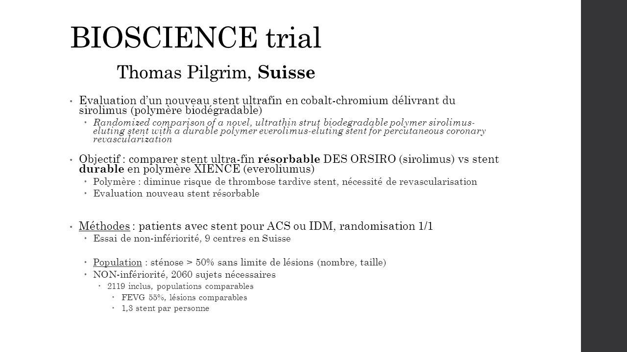 BIOSCIENCE trial Thomas Pilgrim, Suisse Evaluation d'un nouveau stent ultrafin en cobalt-chromium délivrant du sirolimus (polymère biodégradable)  Ra