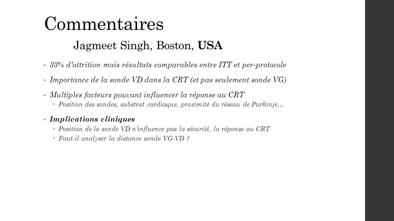 Commentaires Jagmeet Singh, Boston, USA 33% d'attrition mais résultats comparables entre ITT et per-protocole Importance de la sonde VD dans la CRT (e