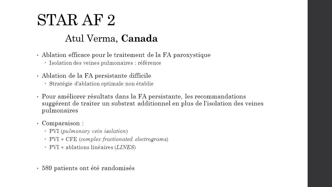 STAR AF 2 Atul Verma, Canada Ablation efficace pour le traitement de la FA paroxystique  Isolation des veines pulmonaires : référence Ablation de la