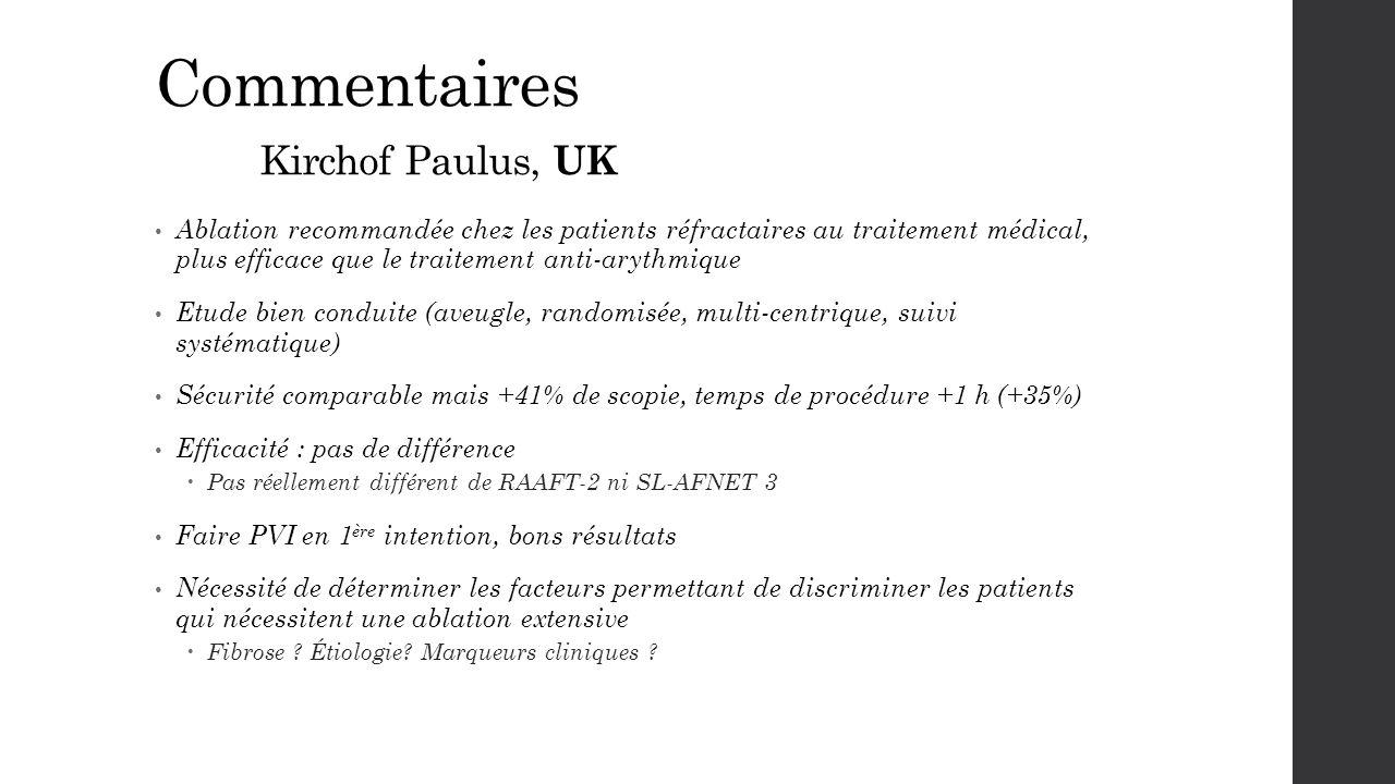 Commentaires Kirchof Paulus, UK Ablation recommandée chez les patients réfractaires au traitement médical, plus efficace que le traitement anti-arythm