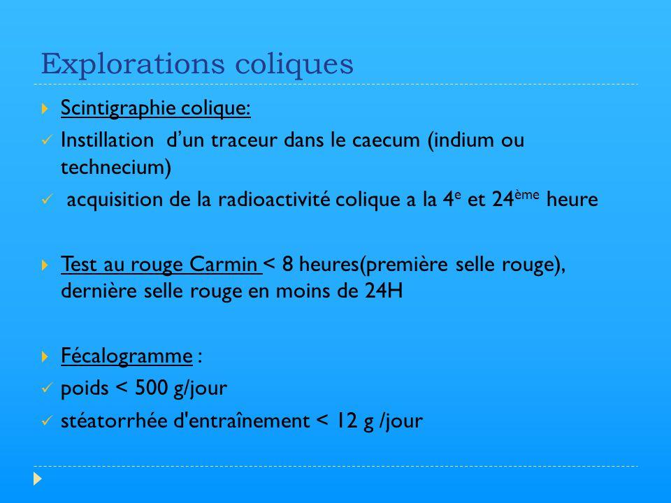 Explorations coliques  Scintigraphie colique: Instillation d'un traceur dans le caecum (indium ou technecium) acquisition de la radioactivité colique