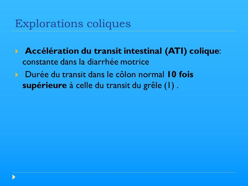 Explorations coliques  Accélération du transit intestinal (ATI) colique: constante dans la diarrhée motrice  Durée du transit dans le côlon normal 1