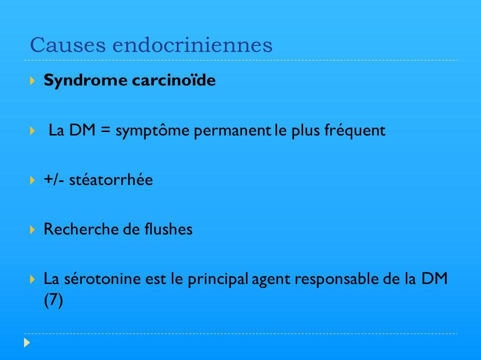 Causes endocriniennes  Syndrome carcinoïde  La DM = symptôme permanent le plus fréquent  +/- stéatorrhée  Recherche de flushes  La sérotonine est