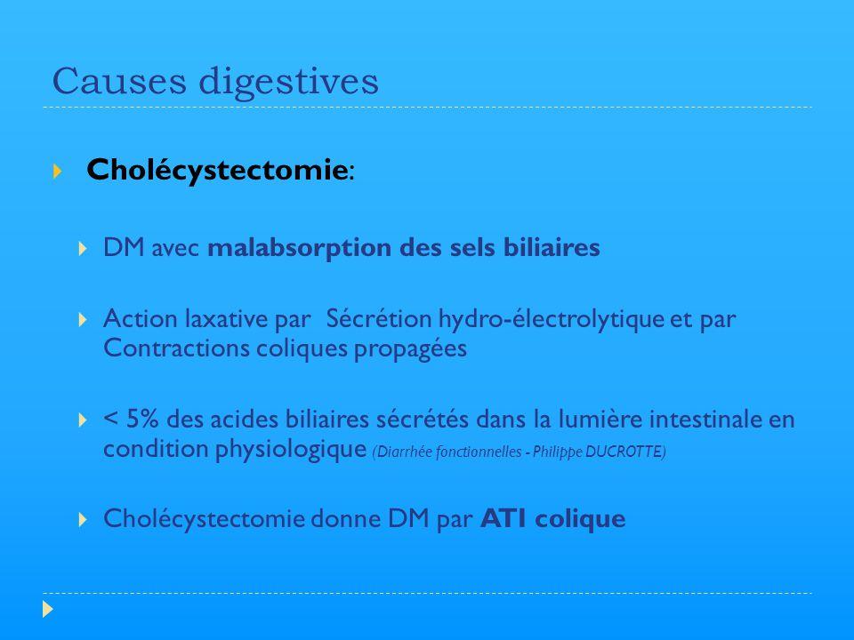 Causes digestives  Cholécystectomie:  DM avec malabsorption des sels biliaires  Action laxative par Sécrétion hydro-électrolytique et par Contracti