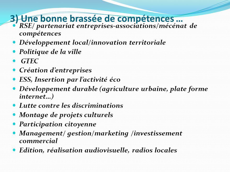 3) Une bonne brassée de compétences … RSE/ partenariat entreprises-associations/mécénat de compétences Développement local/innovation territoriale Pol