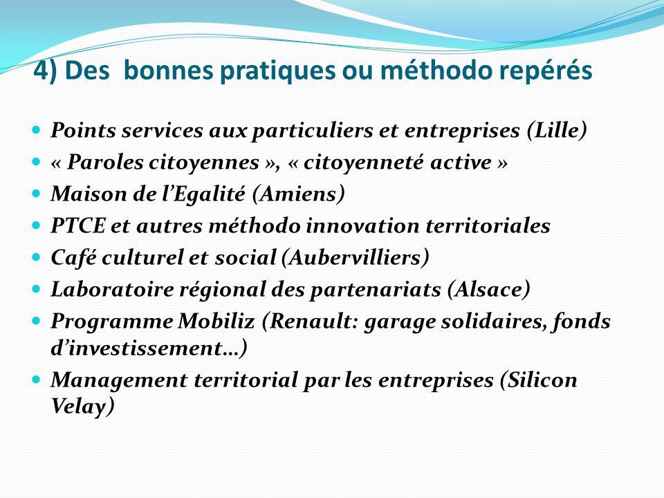 4) Des bonnes pratiques ou méthodo repérés Points services aux particuliers et entreprises (Lille) « Paroles citoyennes », « citoyenneté active » Mais