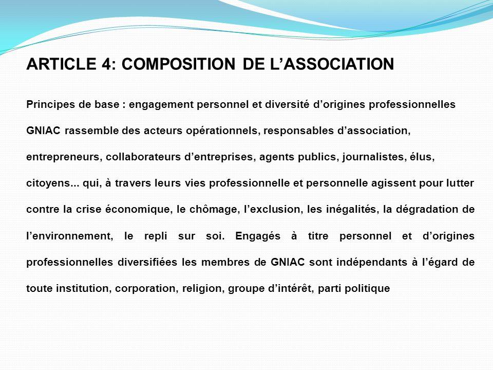 ARTICLE 4: COMPOSITION DE L'ASSOCIATION Principes de base : engagement personnel et diversité d'origines professionnelles GNIAC rassemble des acteurs