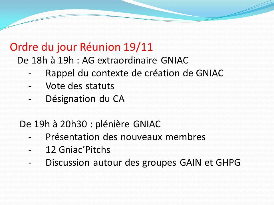 Ordre du jour Réunion 19/11 De 18h à 19h : AG extraordinaire GNIAC -Rappel du contexte de création de GNIAC -Vote des statuts -Désignation du CA De 19
