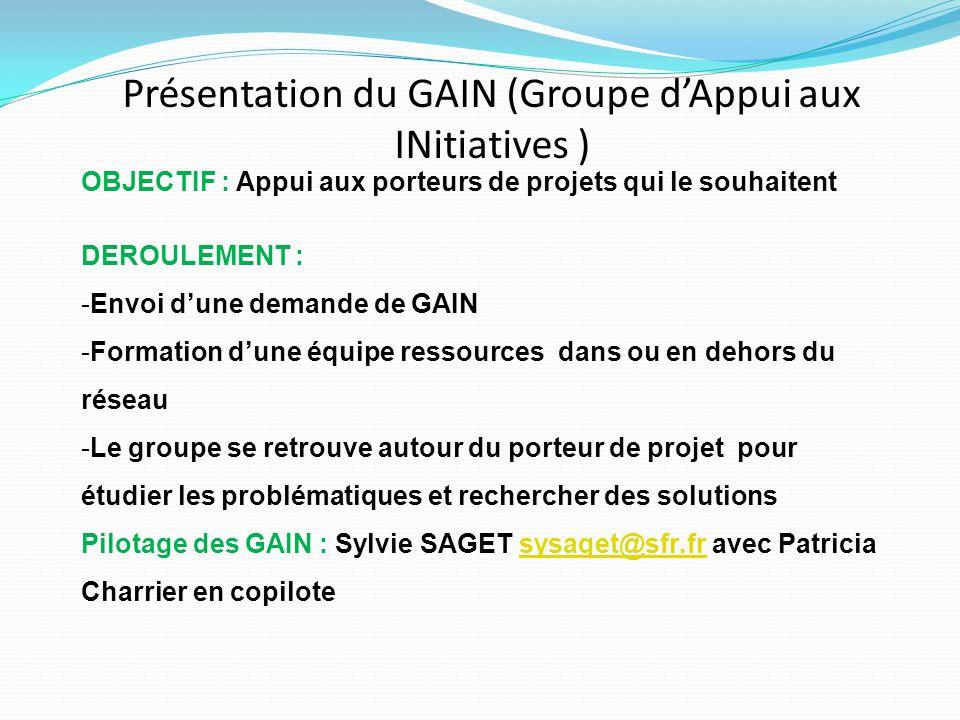 Présentation du GAIN (Groupe d'Appui aux INitiatives ) OBJECTIF : Appui aux porteurs de projets qui le souhaitent DEROULEMENT : -Envoi d'une demande d