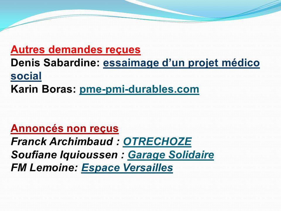 Autres demandes reçues Denis Sabardine: essaimage d'un projet médico social Karin Boras: pme-pmi-durables.com Annoncés non reçus Franck Archimbaud : O