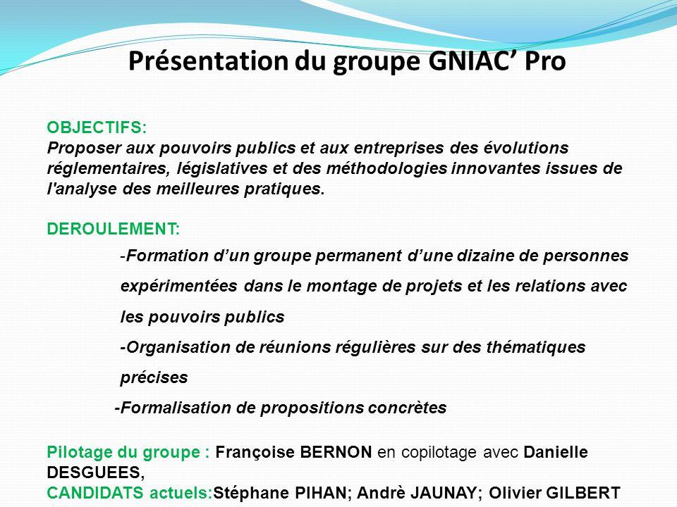 Présentation du groupe GNIAC' Pro OBJECTIFS: Proposer aux pouvoirs publics et aux entreprises des évolutions réglementaires, législatives et des métho