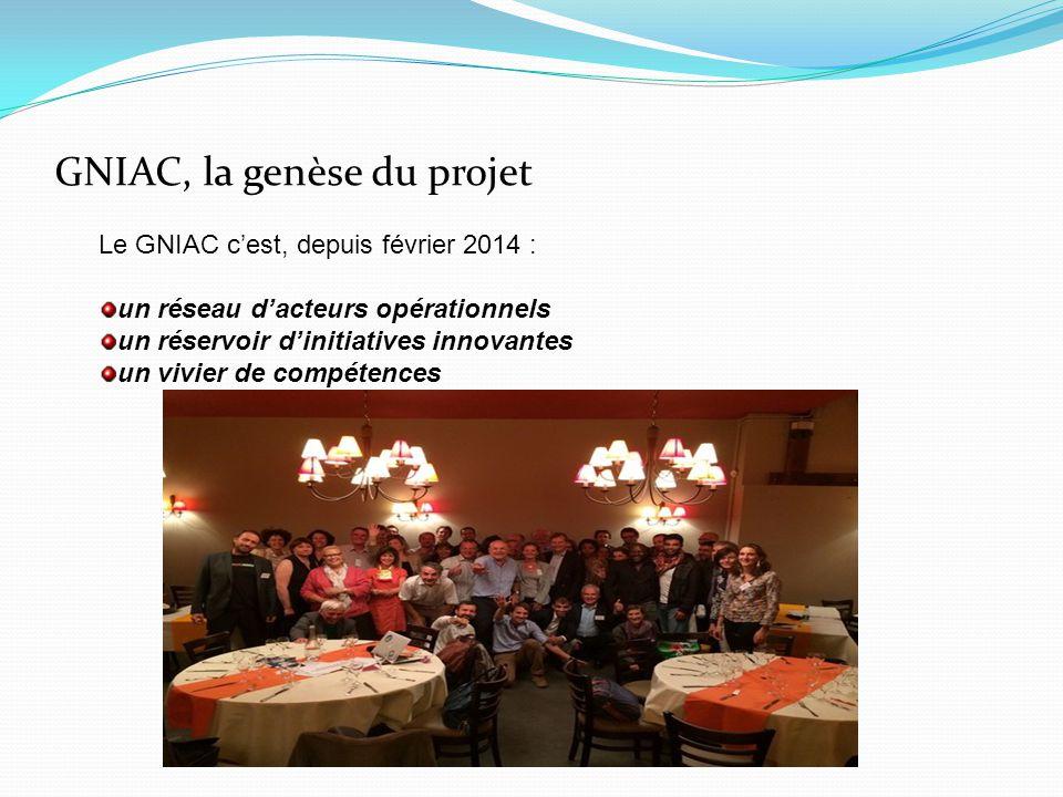 GNIAC, la genèse du projet Le GNIAC c'est, depuis février 2014 : un réseau d'acteurs opérationnels un réservoir d'initiatives innovantes un vivier de