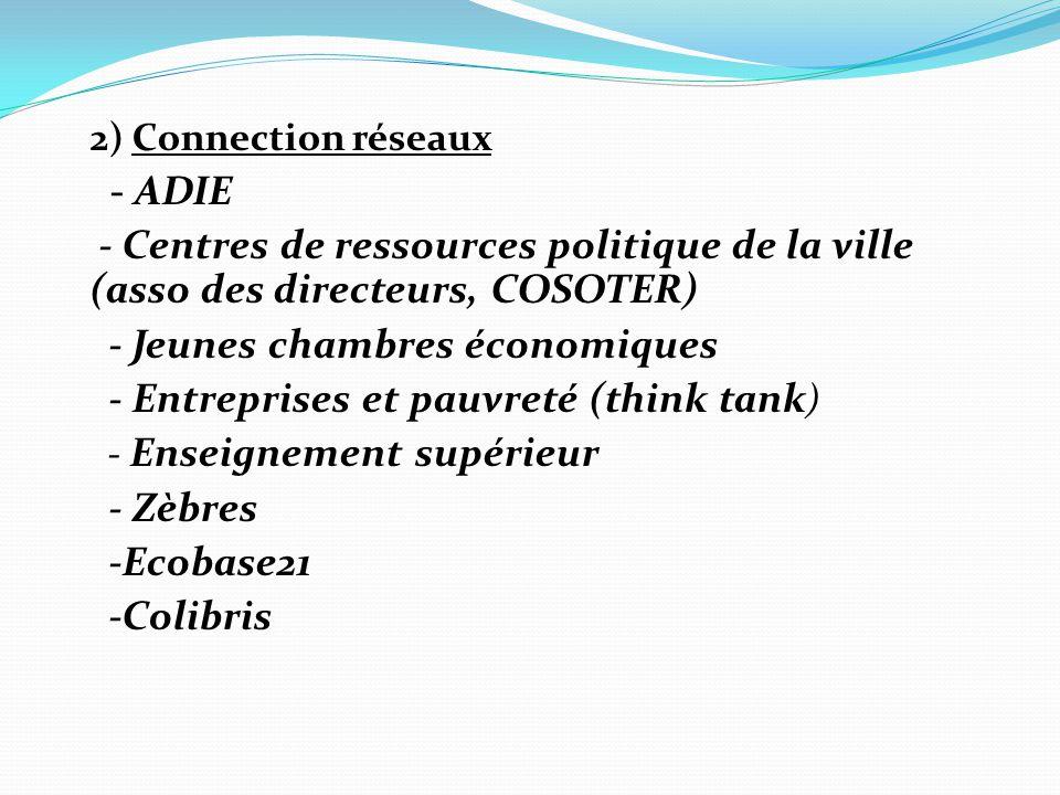 2) Connection réseaux - ADIE - Centres de ressources politique de la ville (asso des directeurs, COSOTER) - Jeunes chambres économiques - Entreprises