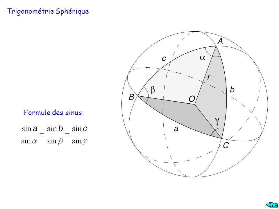 Trigonométrie Sphérique Formule des sinus: