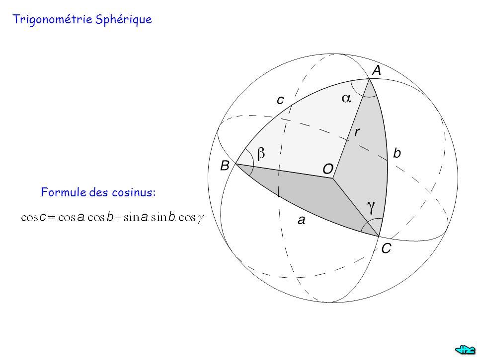 Trigonométrie Sphérique Formule des cosinus: