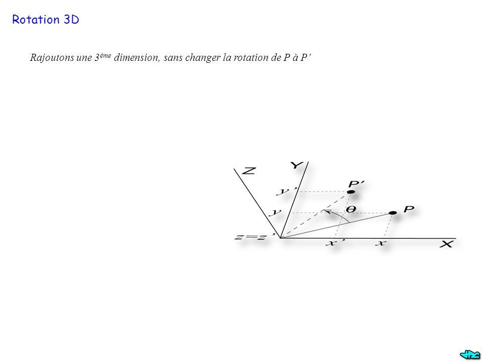 Rotation 3D Rajoutons une 3 ème dimension, sans changer la rotation de P à P'