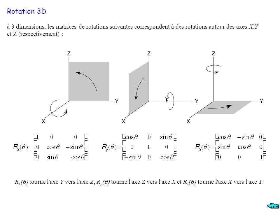 à 3 dimensions, les matrices de rotations suivantes correspondent à des rotations autour des axes X,Y et Z (respectivement) : R x  tourne l axe Y vers l axe Z, R y  tourne l axe Z vers l axe X et R z  tourne l axe X vers l axe Y.
