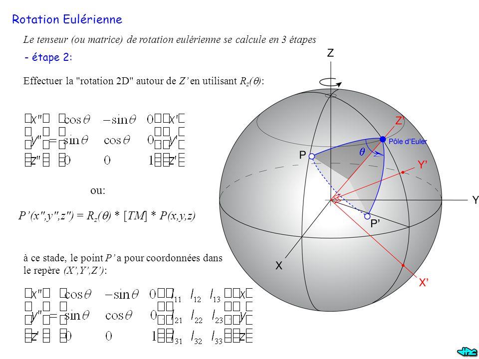 Rotation Eulérienne Le tenseur (ou matrice) de rotation eulérienne se calcule en 3 étapes - étape 2: Effectuer la rotation 2D autour de Z' en utilisant R z (  ): à ce stade, le point P' a pour coordonnées dans le repère (X',Y',Z'): P'(x ,y ,z ) = R z (  ) * [TM] * P(x,y,z) ou: 