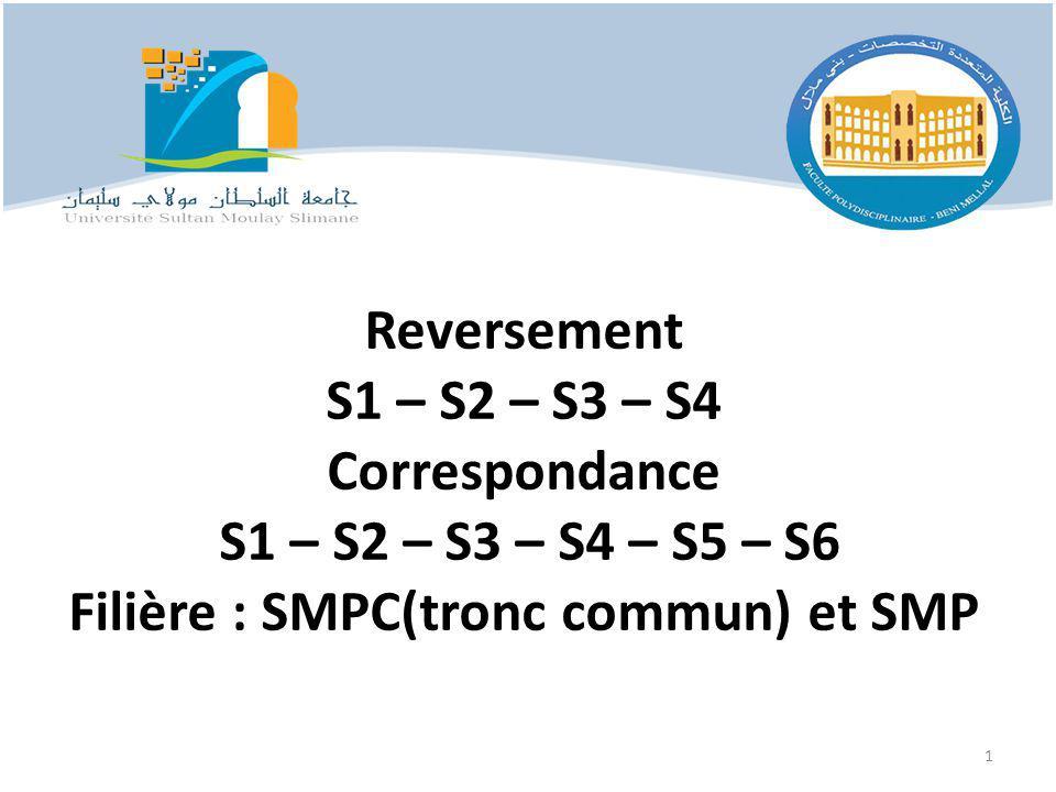 Reversement S1 – S2 – S3 – S4 Correspondance S1 – S2 – S3 – S4 – S5 – S6 Filière : SMPC(tronc commun) et SMP 1