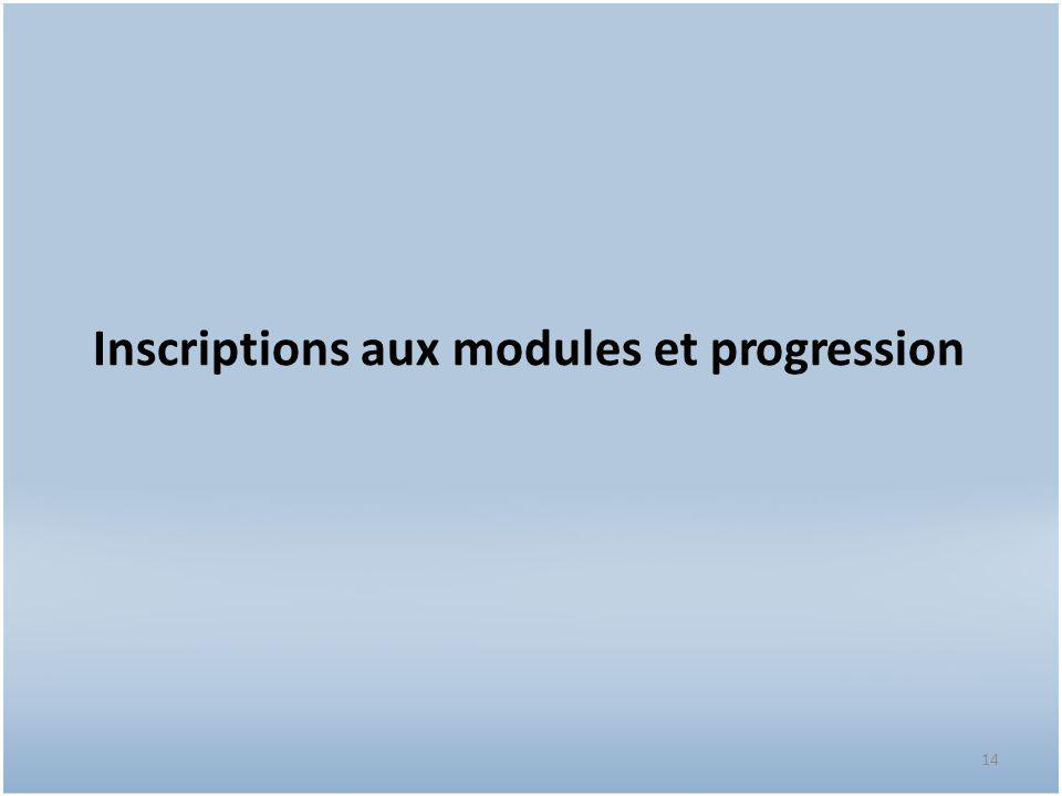 14 Inscriptions aux modules et progression
