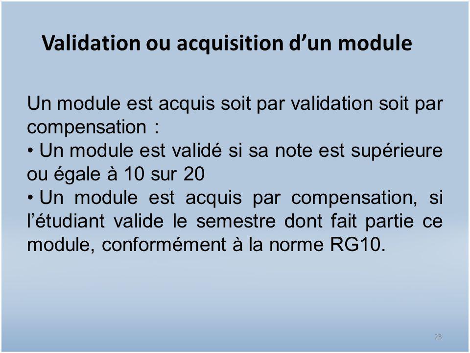 23 Validation ou acquisition d'un module Un module est acquis soit par validation soit par compensation : Un module est validé si sa note est supérieu