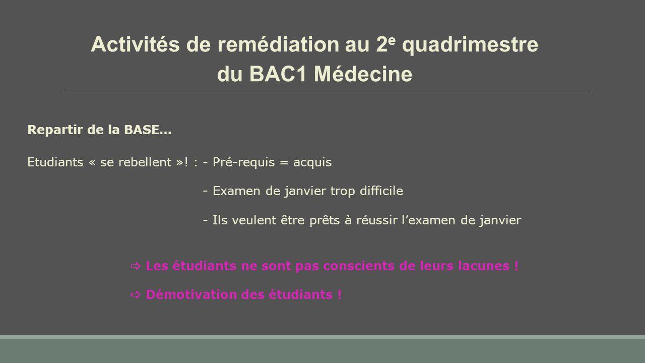 Activités de remédiation au 2 e quadrimestre du BAC1 Médecine Repartir de la BASE… Etudiants « se rebellent »! : - Pré-requis = acquis - Examen de jan