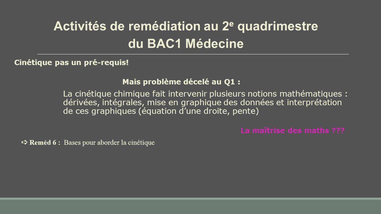 Activités de remédiation au 2 e quadrimestre du BAC1 Médecine Cinétique pas un pré-requis! Mais problème décelé au Q1 : La cinétique chimique fait int