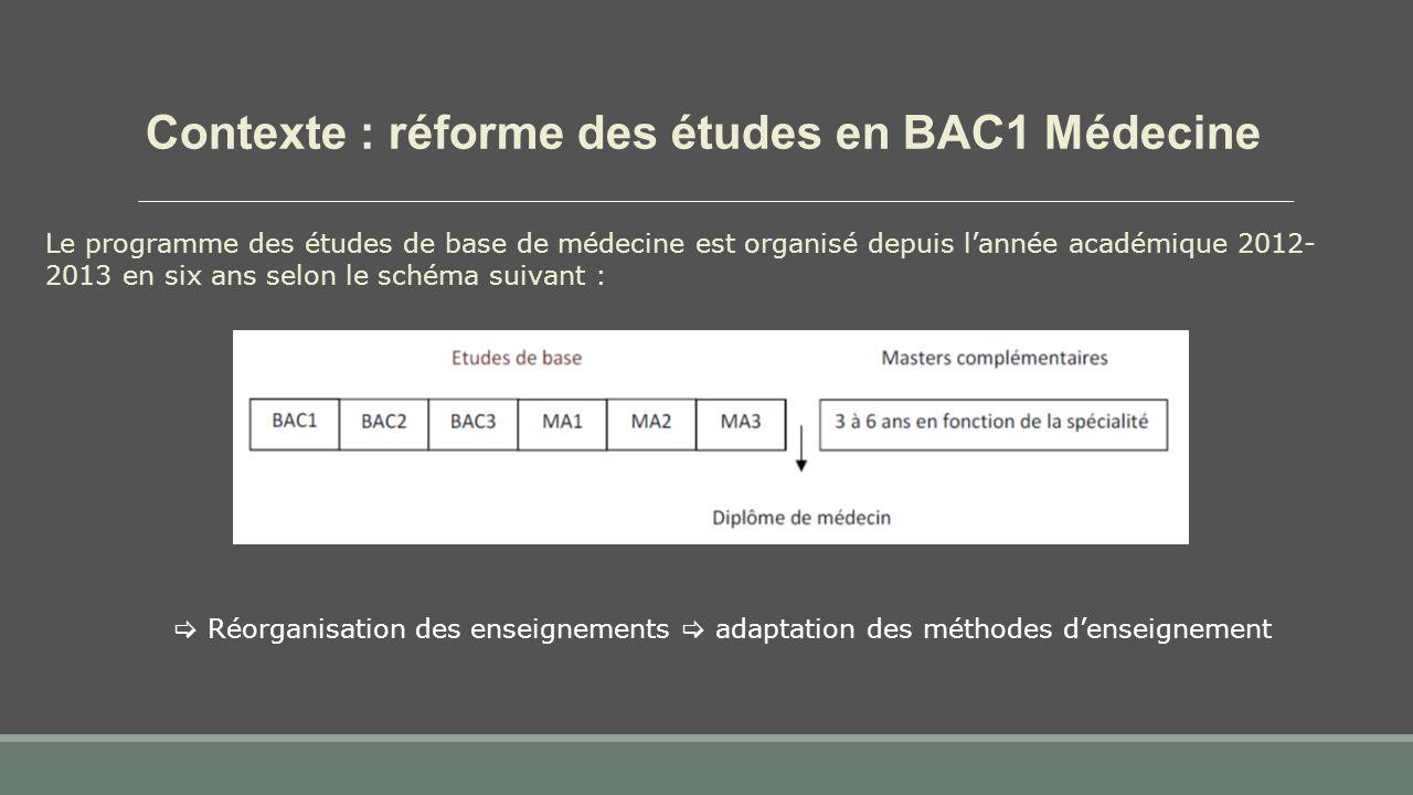 Contexte : réforme des études en BAC1 Médecine Le programme des études de base de médecine est organisé depuis l'année académique 2012- 2013 en six ans selon le schéma suivant :  Réorganisation des enseignements  adaptation des méthodes d'enseignement
