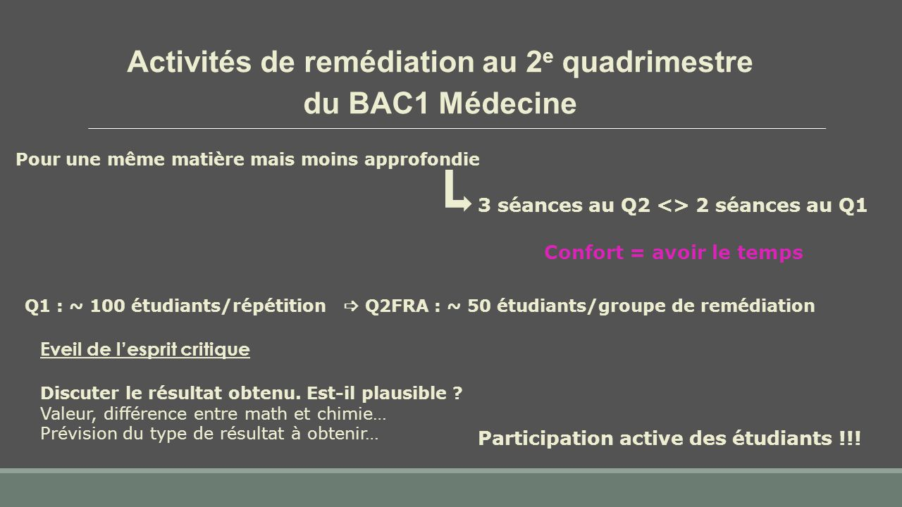 3 séances au Q2 <> 2 séances au Q1 Participation active des étudiants !!! Confort = avoir le temps Activités de remédiation au 2 e quadrimestre du BAC