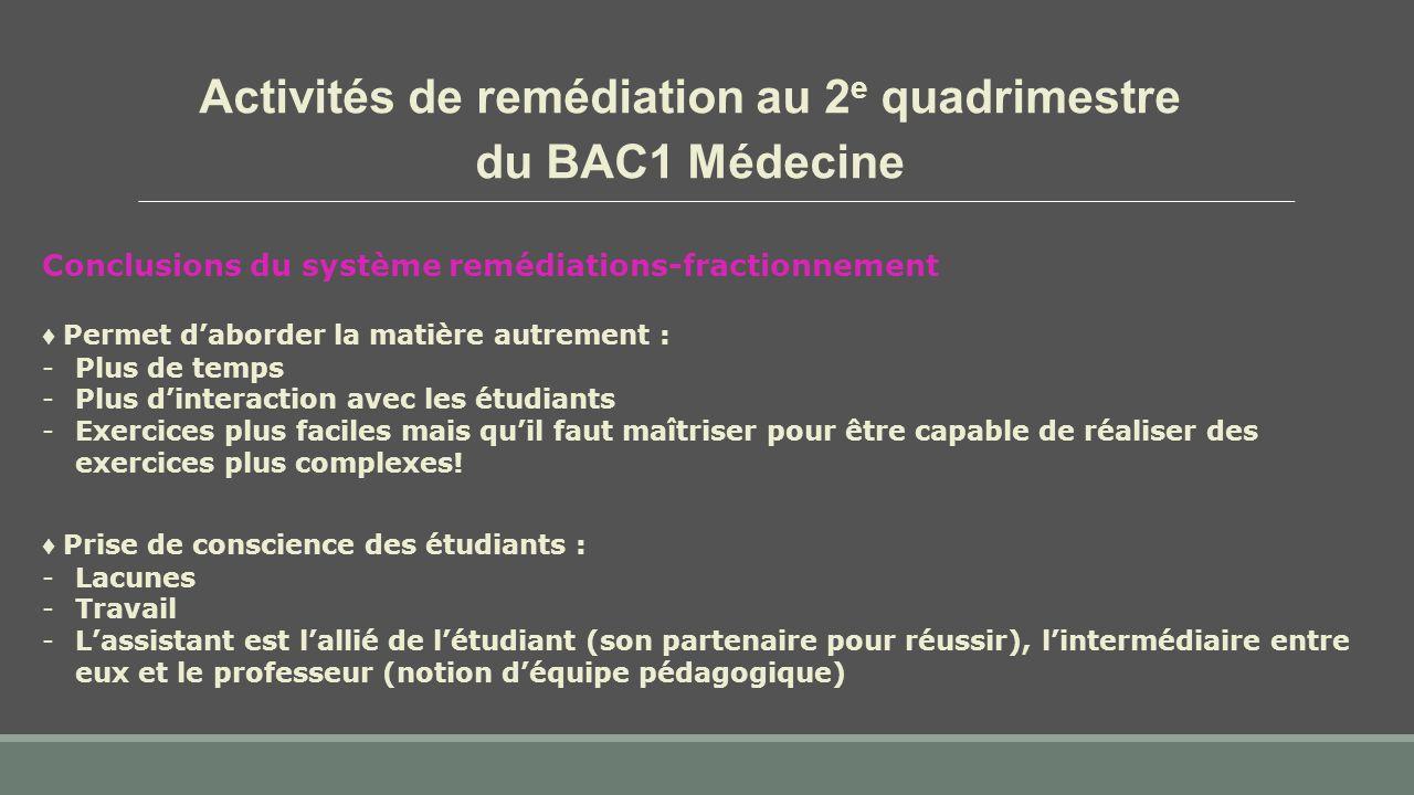 Activités de remédiation au 2 e quadrimestre du BAC1 Médecine Conclusions du système remédiations-fractionnement ♦ Prise de conscience des étudiants :