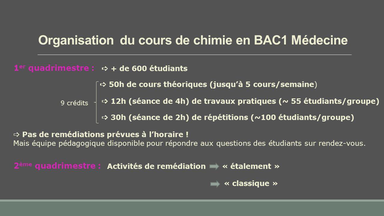 1 er quadrimestre :  + de 600 étudiants  50h de cours théoriques (jusqu'à 5 cours/semaine)  30h (séance de 2h) de répétitions (~100 étudiants/groupe) Organisation du cours de chimie en BAC1 Médecine  12h (séance de 4h) de travaux pratiques (~ 55 étudiants/groupe) 2 ème quadrimestre : Activités de remédiation « classique » « étalement »  Pas de remédiations prévues à l'horaire .