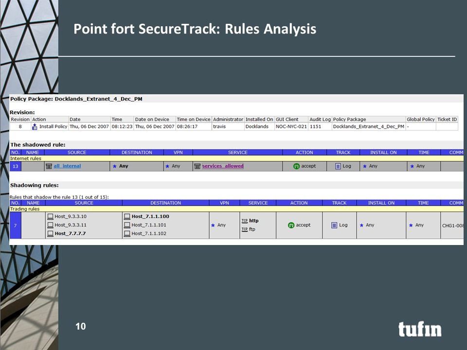 Point fort SecureTrack: Rules Analysis 10
