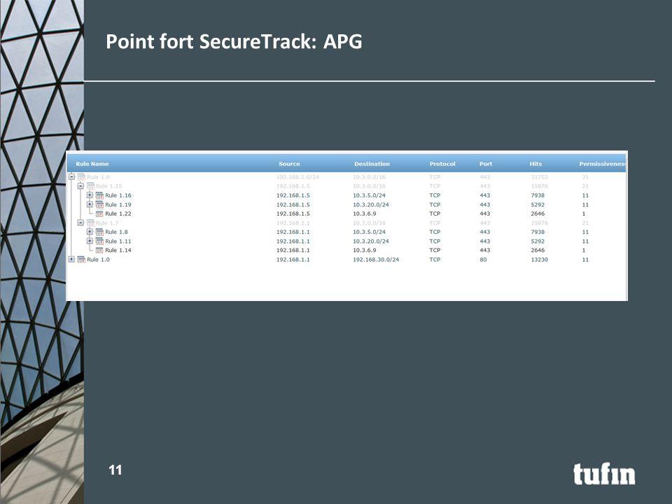 Point fort SecureTrack: APG 11