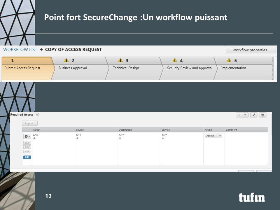 Point fort SecureChange :Un workflow puissant 13