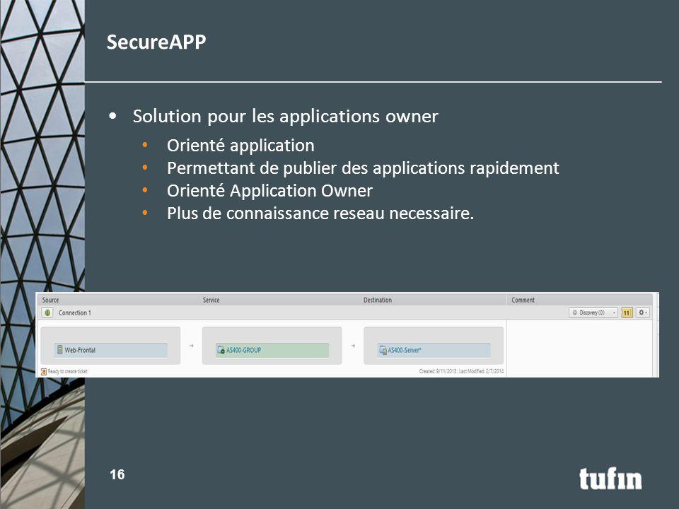Solution pour les applications owner Orienté application Permettant de publier des applications rapidement Orienté Application Owner Plus de connaissa