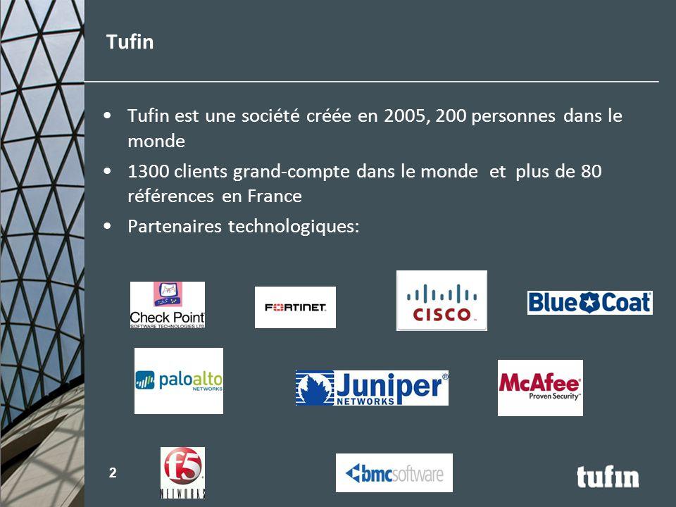 Tufin est une société créée en 2005, 200 personnes dans le monde 1300 clients grand-compte dans le monde et plus de 80 références en France Partenaire