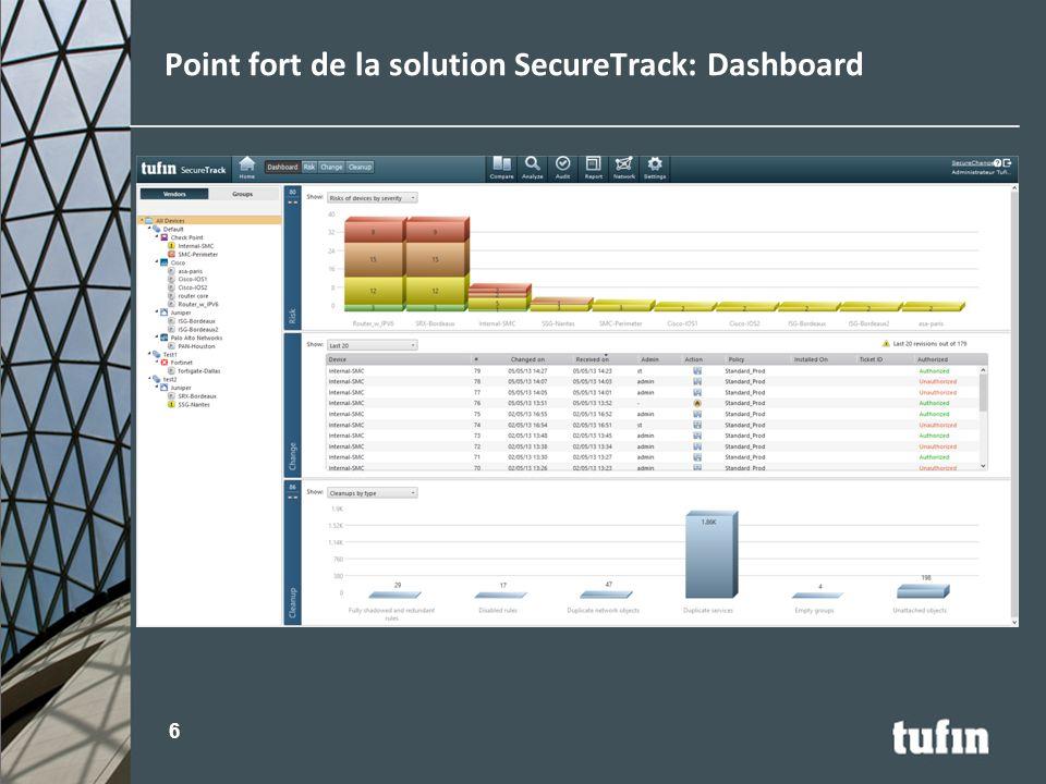 Point fort de la solution SecureTrack: Dashboard 6