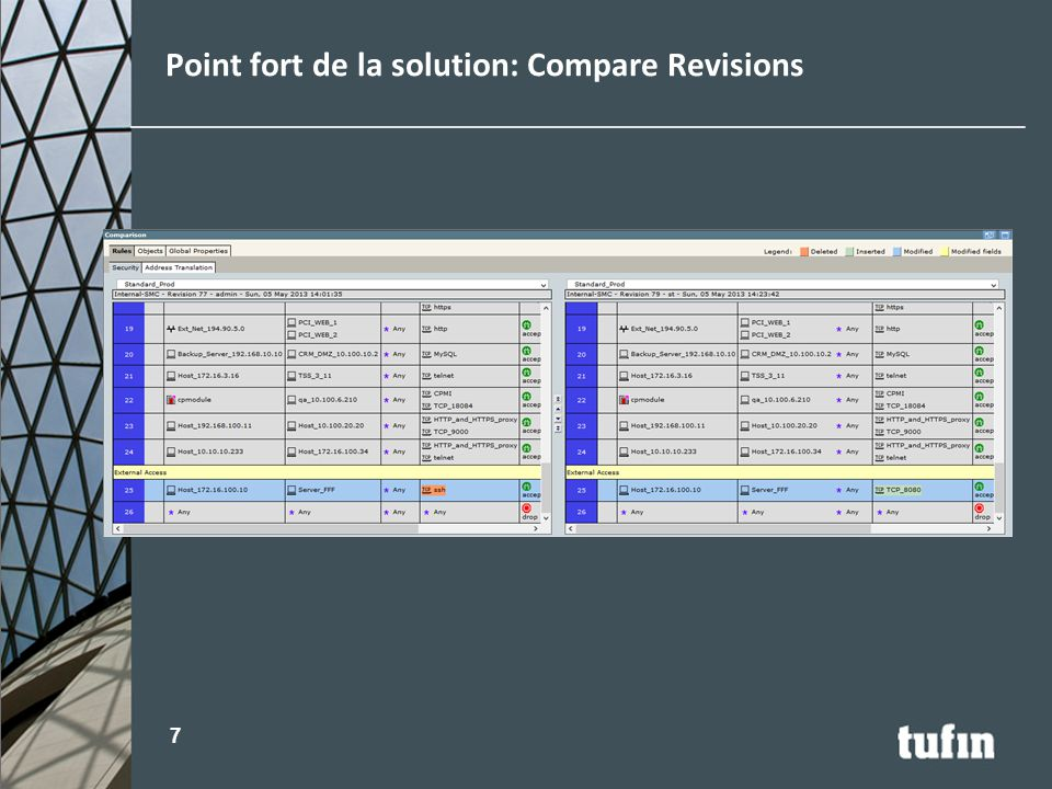 Point fort de la solution: Compare Revisions 7