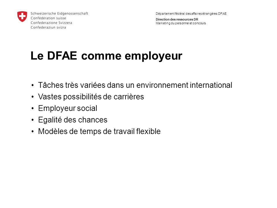 Département fédéral des affaires étrangères DFAE Direction des ressources DR Marketing du personnel et concours Tâches très variées dans un environnem