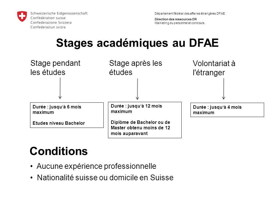 Département fédéral des affaires étrangères DFAE Direction des ressources DR Marketing du personnel et concours Stages académiques au DFAE Stage penda